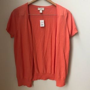 NWT - loft orange short sleeves cardigan- m